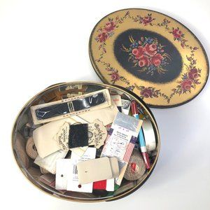 Vintage Sewing Tin and Lot of Supplies